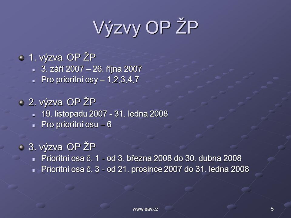 5www.eav.cz Výzvy OP ŽP 1. výzva OP ŽP 3. září 2007 – 26. října 2007 3. září 2007 – 26. října 2007 Pro prioritní osy – 1,2,3,4,7 Pro prioritní osy – 1