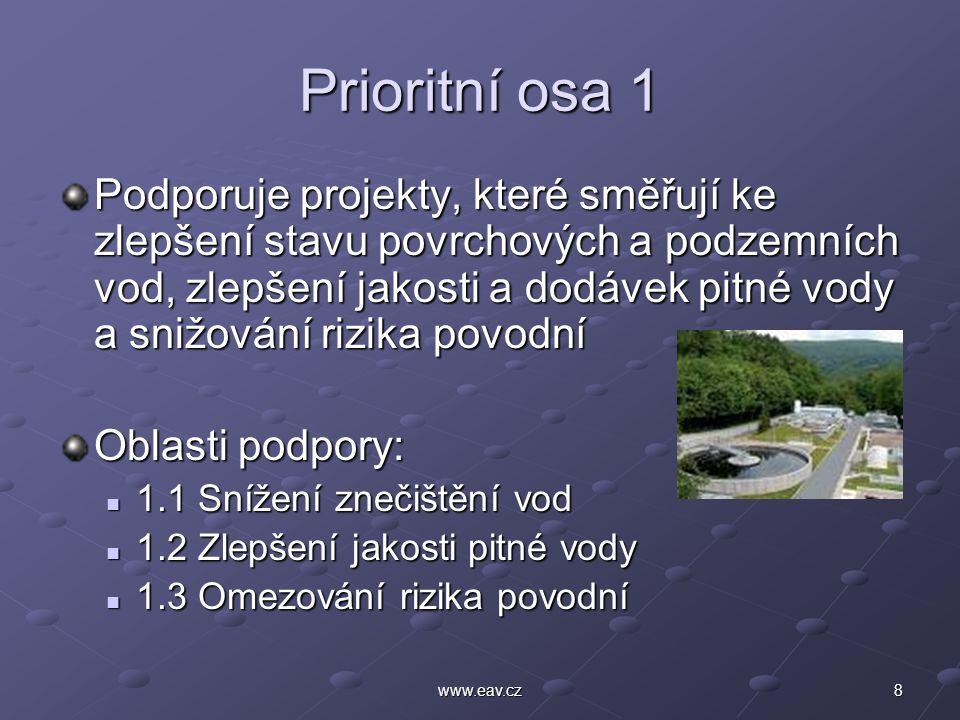 8www.eav.cz Prioritní osa 1 Podporuje projekty, které směřují ke zlepšení stavu povrchových a podzemních vod, zlepšení jakosti a dodávek pitné vody a