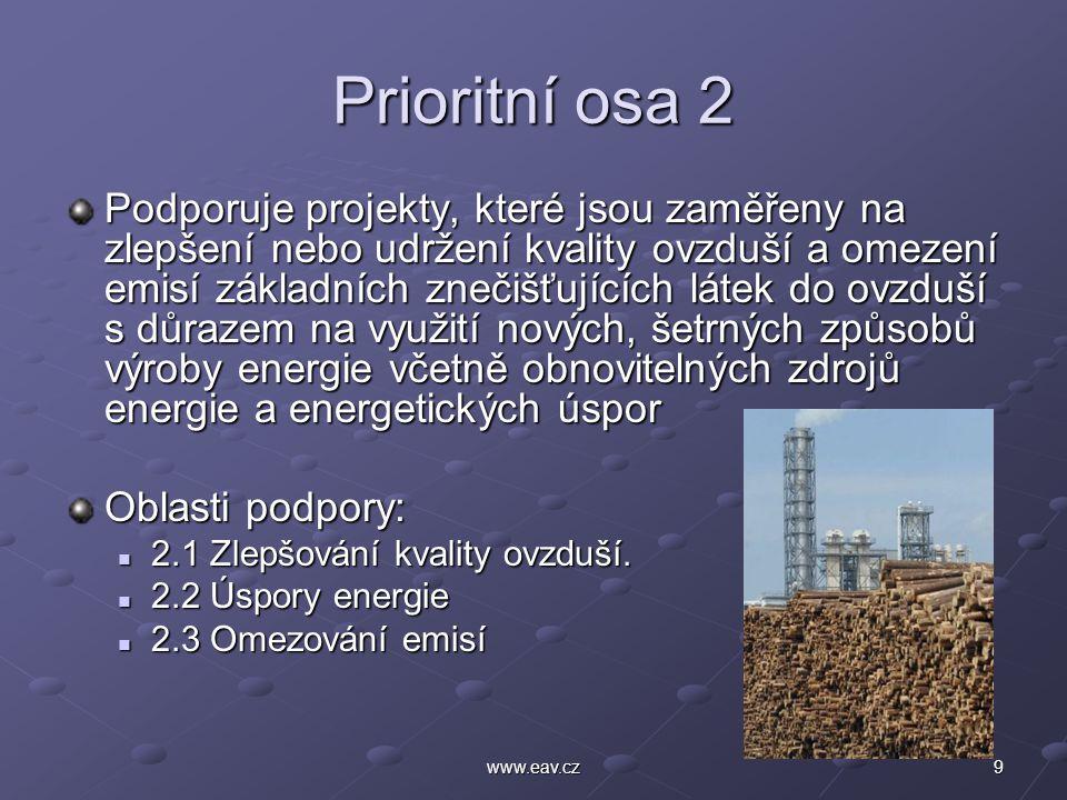 9www.eav.cz Prioritní osa 2 Podporuje projekty, které jsou zaměřeny na zlepšení nebo udržení kvality ovzduší a omezení emisí základních znečišťujících látek do ovzduší s důrazem na využití nových, šetrných způsobů výroby energie včetně obnovitelných zdrojů energie a energetických úspor Oblasti podpory: 2.1 Zlepšování kvality ovzduší.