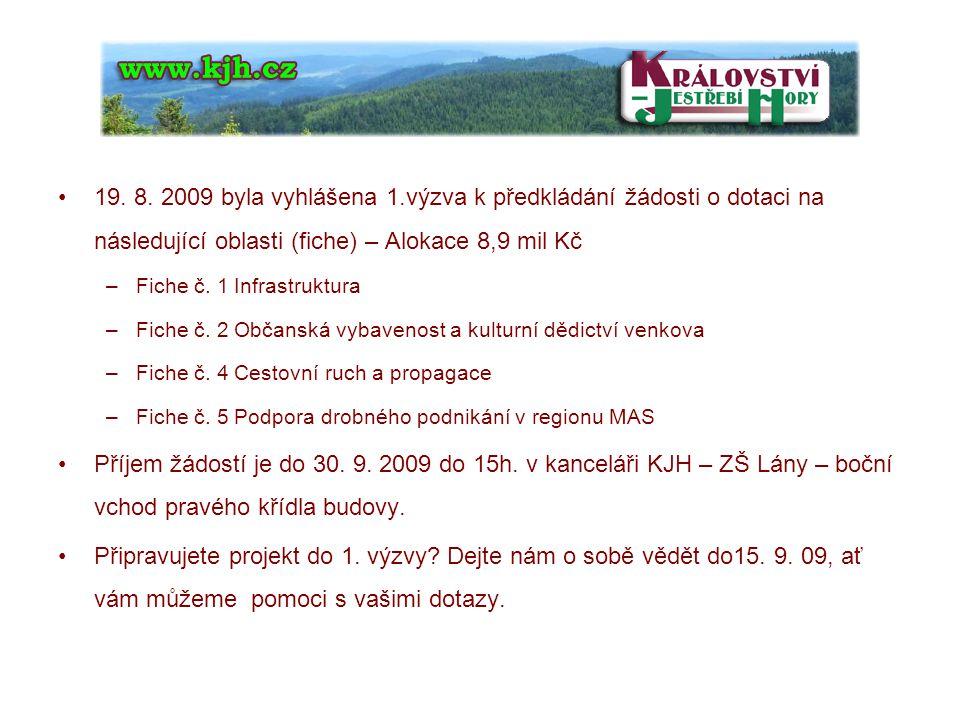 19. 8. 2009 byla vyhlášena 1.výzva k předkládání žádosti o dotaci na následující oblasti (fiche) – Alokace 8,9 mil Kč –Fiche č. 1 Infrastruktura –Fich