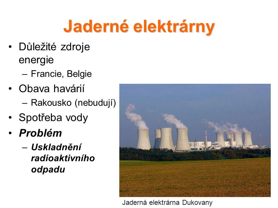 Jaderné elektrárny Důležité zdroje energie –Francie, Belgie Obava havárií –Rakousko (nebudují) Spotřeba vody Problém –Uskladnění radioaktivního odpadu Jaderná elektrárna Dukovany