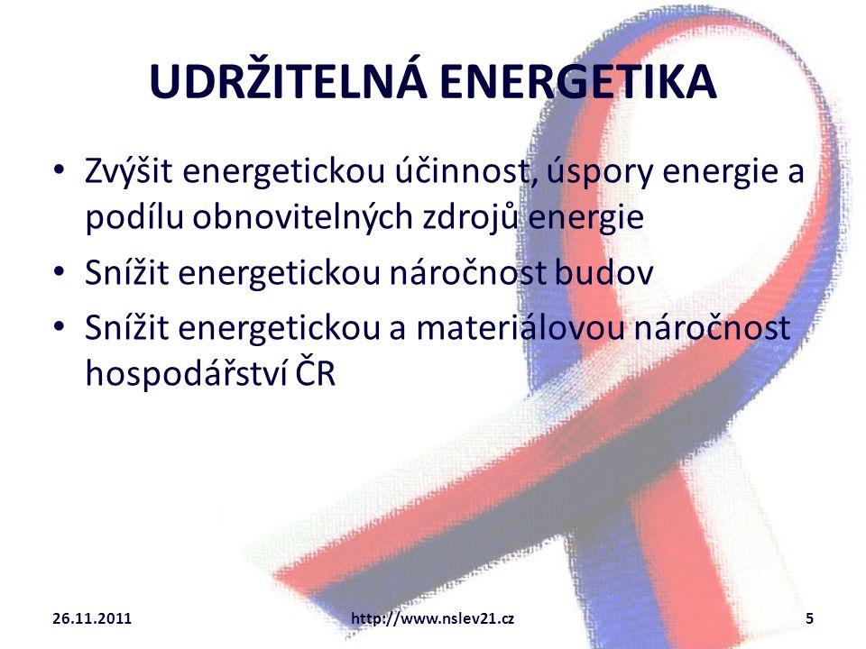 UDRŽITELNÁ ENERGETIKA Zvýšit energetickou účinnost, úspory energie a podílu obnovitelných zdrojů energie Snížit energetickou náročnost budov Snížit en