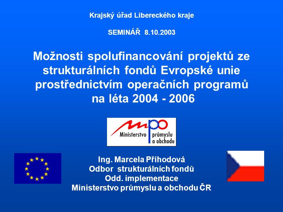 Krajský úřad Libereckého kraje SEMINÁŘ 8.10.2003 Možnosti spolufinancování projektů ze strukturálních fondů Evropské unie prostřednictvím operačních programů na léta 2004 - 2006 Ing.