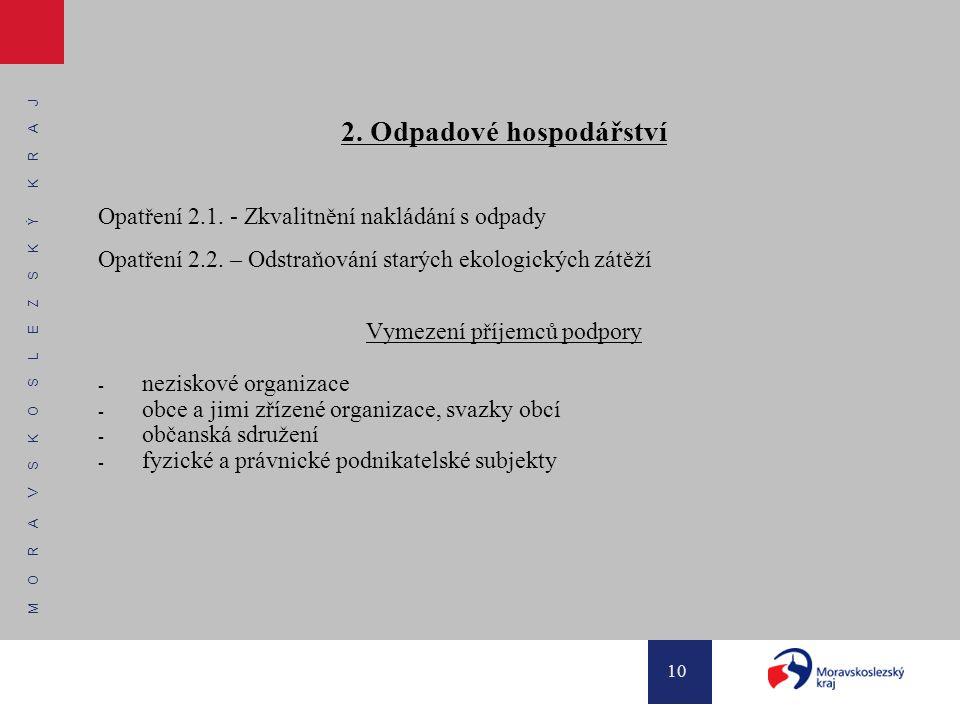 M O R A V S K O S L E Z S K Ý K R A J 10 2. Odpadové hospodářství Opatření 2.1. - Zkvalitnění nakládání s odpady Opatření 2.2. – Odstraňování starých
