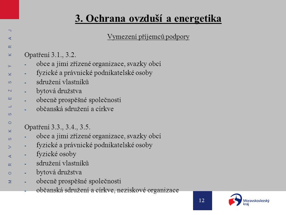 M O R A V S K O S L E Z S K Ý K R A J 12 3. Ochrana ovzduší a energetika Vymezení příjemců podpory Opatření 3.1., 3.2. - obce a jimi zřízené organizac