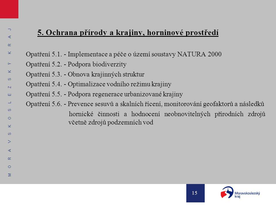 M O R A V S K O S L E Z S K Ý K R A J 15 5. Ochrana přírody a krajiny, horninové prostředí Opatření 5.1. - Implementace a péče o území soustavy NATURA