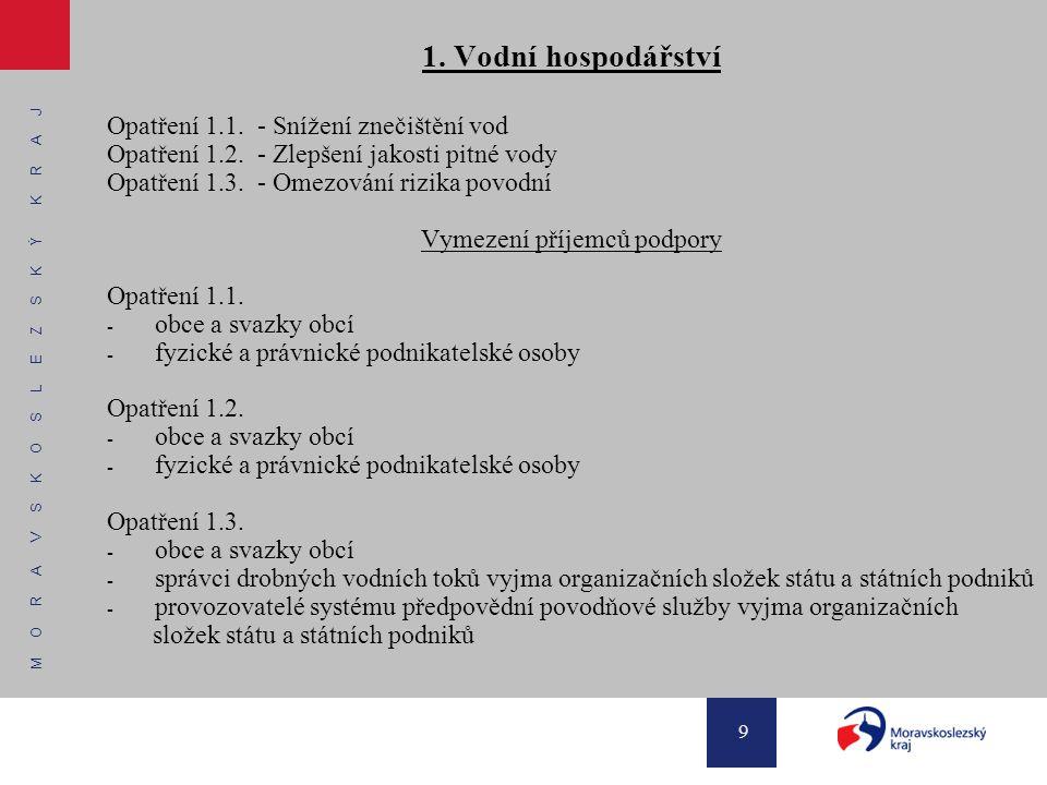 M O R A V S K O S L E Z S K Ý K R A J 10 2.Odpadové hospodářství Opatření 2.1.