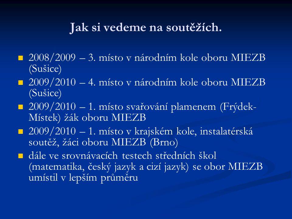 Jak si vedeme na soutěžích. 2008/2009 – 3. místo v národním kole oboru MIEZB (Sušice) 2009/2010 – 4. místo v národním kole oboru MIEZB (Sušice) 2009/2