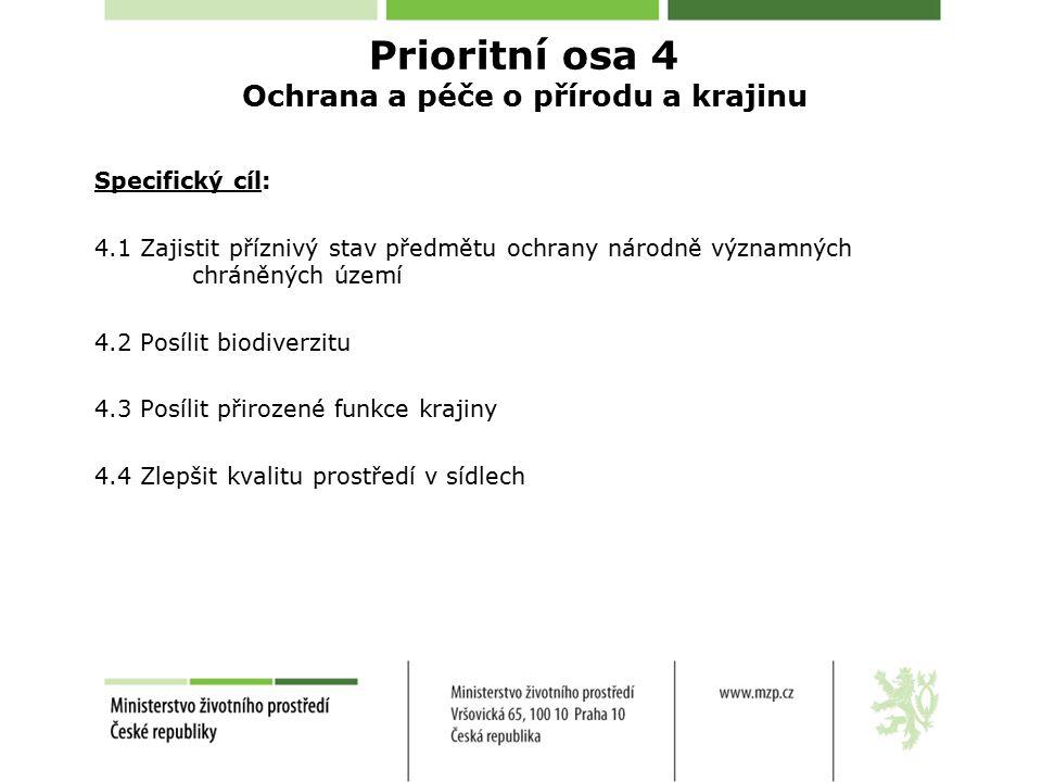Specifický cíl: 4.1 Zajistit příznivý stav předmětu ochrany národně významných chráněných území 4.2 Posílit biodiverzitu 4.3 Posílit přirozené funkce krajiny 4.4 Zlepšit kvalitu prostředí v sídlech Prioritní osa 4 Ochrana a péče o přírodu a krajinu