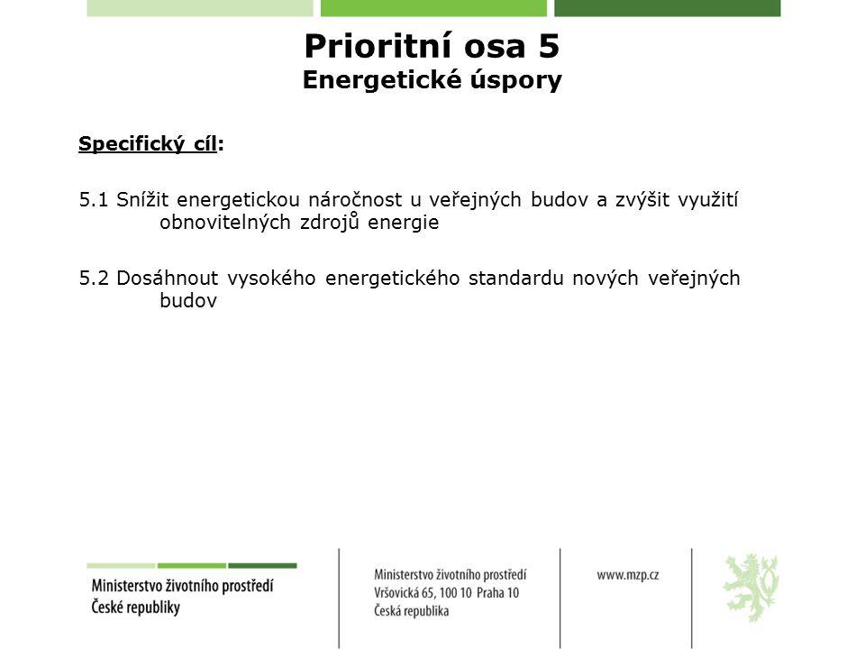 Specifický cíl: 5.1 Snížit energetickou náročnost u veřejných budov a zvýšit využití obnovitelných zdrojů energie 5.2 Dosáhnout vysokého energetického standardu nových veřejných budov Prioritní osa 5 Energetické úspory
