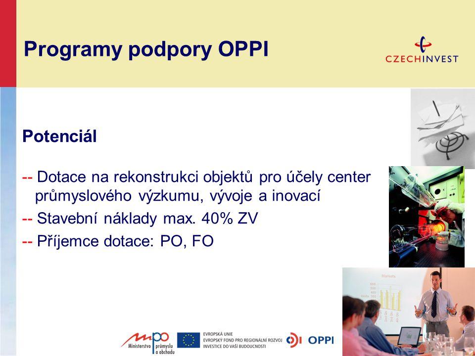 Programy podpory OPPI Potenciál -- Dotace na rekonstrukci objektů pro účely center průmyslového výzkumu, vývoje a inovací -- Stavební náklady max.