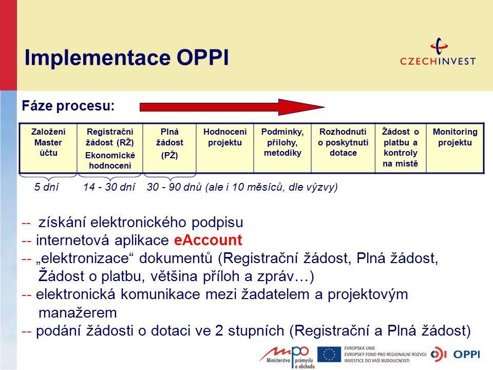 """Implementace OPPI Založení Master účtu Registrační žádost (RŽ) Ekonomické hodnocení Plná žádost (PŽ) Hodnocení projektu Podmínky, přílohy, metodiky Rozhodnutí o poskytnutí dotace Žádost o platbu a kontroly na místě Monitoring projektu -- získání elektronického podpisu -- internetová aplikace eAccount -- """"elektronizace dokumentů (Registrační žádost, Plná žádost, Žádost o platbu, většina příloh a zpráv…) -- elektronická komunikace mezi žadatelem a projektovým manažerem -- podání žádosti o dotaci ve 2 stupních (Registrační a Plná žádost) Fáze procesu: 5 dní 14 - 30 dní 30 - 90 dnů (ale i 10 měsíců, dle výzvy)"""
