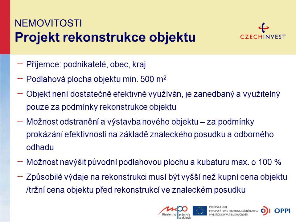 NEMOVITOSTI Projekt rekonstrukce objektu ╌ Příjemce: podnikatelé, obec, kraj ╌ Podlahová plocha objektu min.