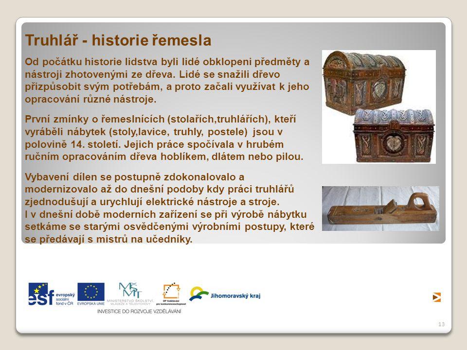 13 Truhlář - historie řemesla Od počátku historie lidstva byli lidé obklopeni předměty a nástroji zhotovenými ze dřeva. Lidé se snažili dřevo přizpůso