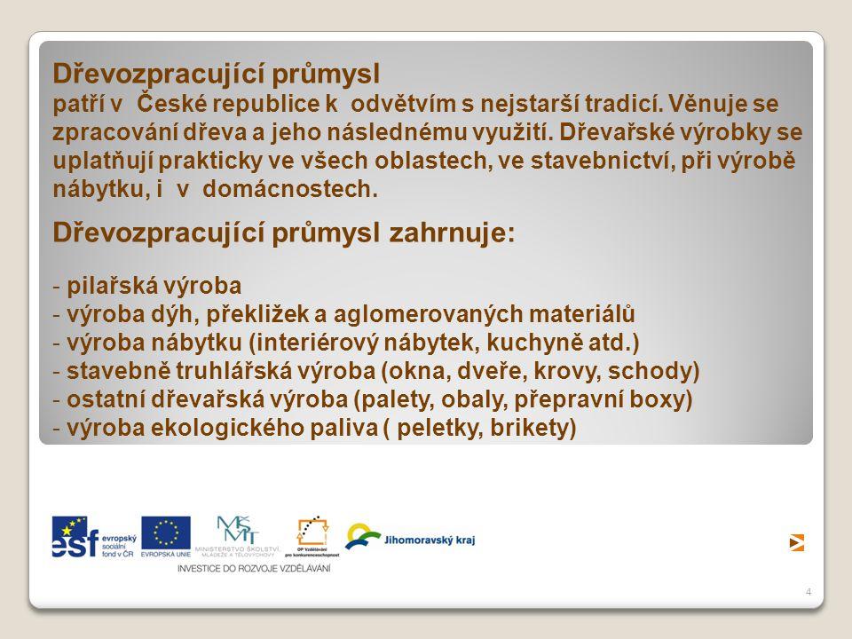 4 Dřevozpracující průmysl patří v České republice k odvětvím s nejstarší tradicí. Věnuje se zpracování dřeva a jeho následnému využití. Dřevařské výro