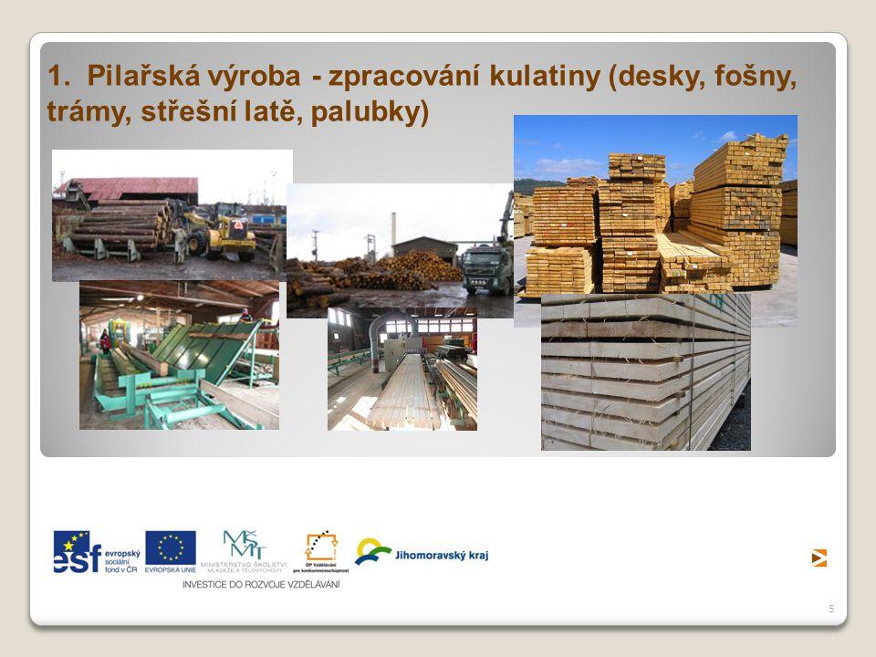 5 1. Pilařská výroba - zpracování kulatiny (desky, fošny, trámy, střešní latě, palubky)