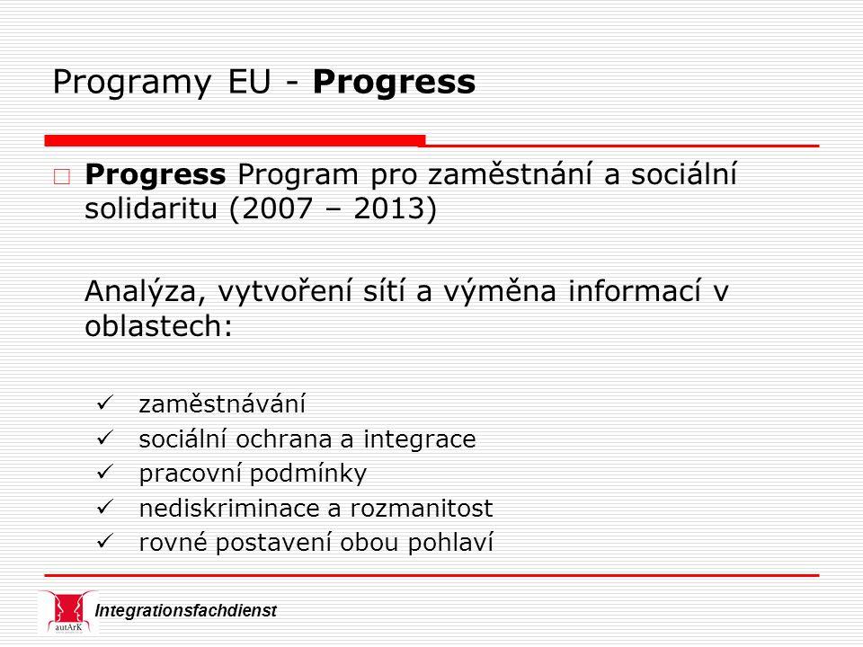 Integrationsfachdienst Programy EU - Progress  Progress Program pro zaměstnání a sociální solidaritu (2007 – 2013) Analýza, vytvoření sítí a výměna informací v oblastech: zaměstnávání sociální ochrana a integrace pracovní podmínky nediskriminace a rozmanitost rovné postavení obou pohlaví