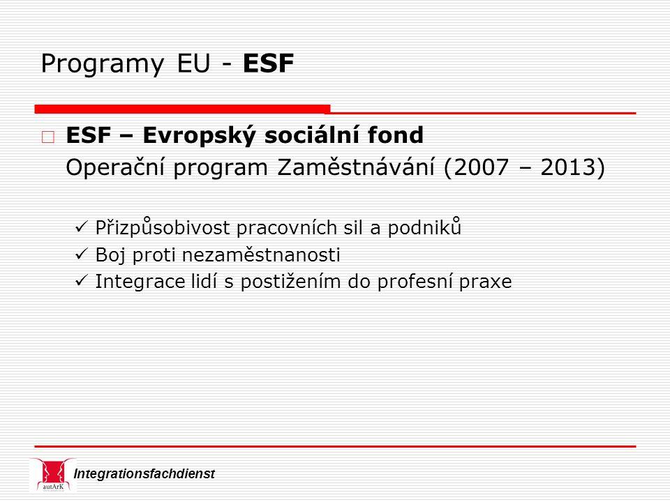Integrationsfachdienst Programy EU - ESF  ESF – Evropský sociální fond Operační program Zaměstnávání (2007 – 2013) Přizpůsobivost pracovních sil a podniků Boj proti nezaměstnanosti Integrace lidí s postižením do profesní praxe