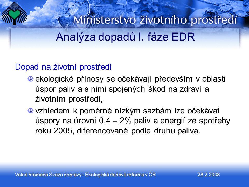 28.2.2008Valná hromada Svazu dopravy - Ekologická daňová reforma v ČR Analýza dopadů I.