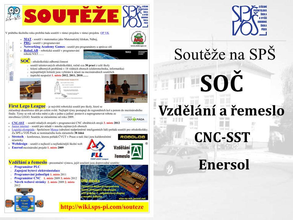 Soutěže na SPŠ SOČ Vzdělání a řemeslo CNC-SST Enersol