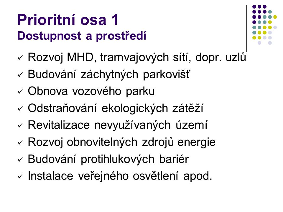 Prioritní osa 1 Dostupnost a prostředí Rozvoj MHD, tramvajových sítí, dopr.
