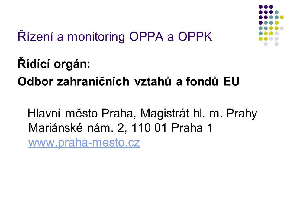Řízení a monitoring OPPA a OPPK Řídící orgán: Odbor zahraničních vztahů a fondů EU Hlavní město Praha, Magistrát hl.