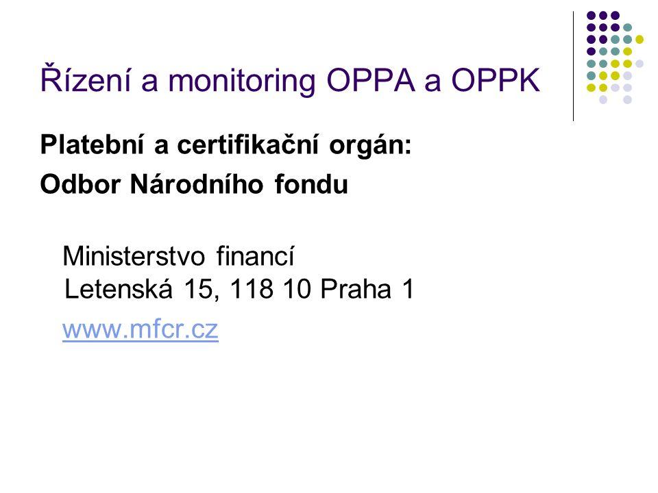 Řízení a monitoring OPPA a OPPK Platební a certifikační orgán: Odbor Národního fondu Ministerstvo financí Letenská 15, 118 10 Praha 1 www.mfcr.cz