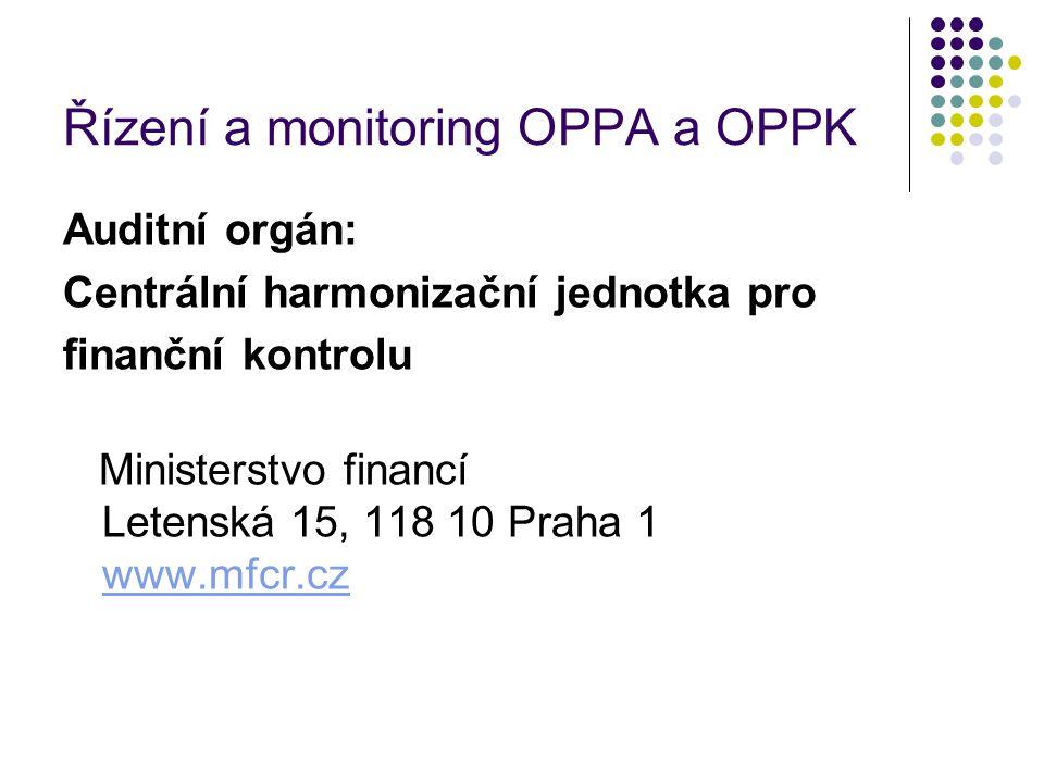 Řízení a monitoring OPPA a OPPK Auditní orgán: Centrální harmonizační jednotka pro finanční kontrolu Ministerstvo financí Letenská 15, 118 10 Praha 1 www.mfcr.cz www.mfcr.cz