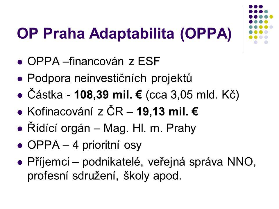 OP Praha Adaptabilita (OPPA) OPPA –financován z ESF Podpora neinvestičních projektů Částka - 108,39 mil. € (cca 3,05 mld. Kč) Kofinacování z ČR – 19,1