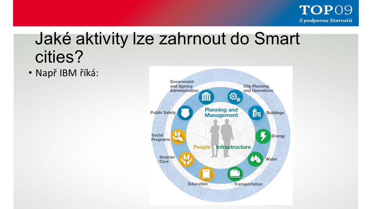 Jaké aktivity lze zahrnout do Smart cities? Např IBM říká:
