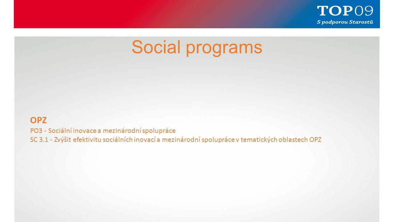 Social programs OPZ PO3 - Sociální inovace a mezinárodní spolupráce SC 3.1 - Zvýšit efektivitu sociálních inovací a mezinárodní spolupráce v tematických oblastech OPZ