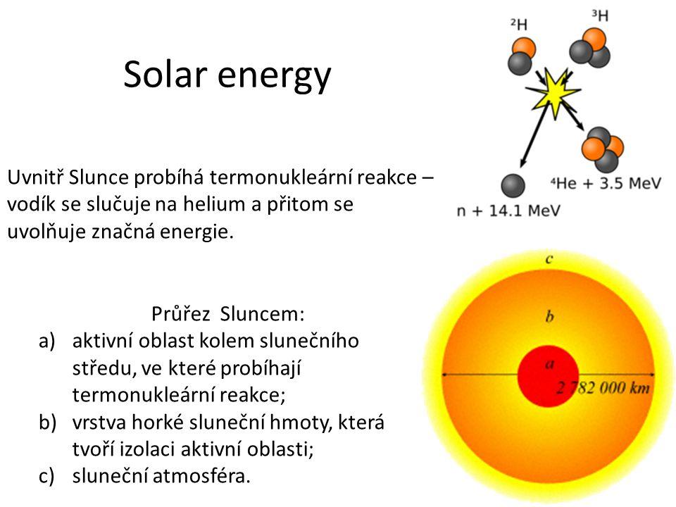 Solar energy Uvnitř Slunce probíhá termonukleární reakce – vodík se slučuje na helium a přitom se uvolňuje značná energie. Průřez Sluncem: a)aktivní o