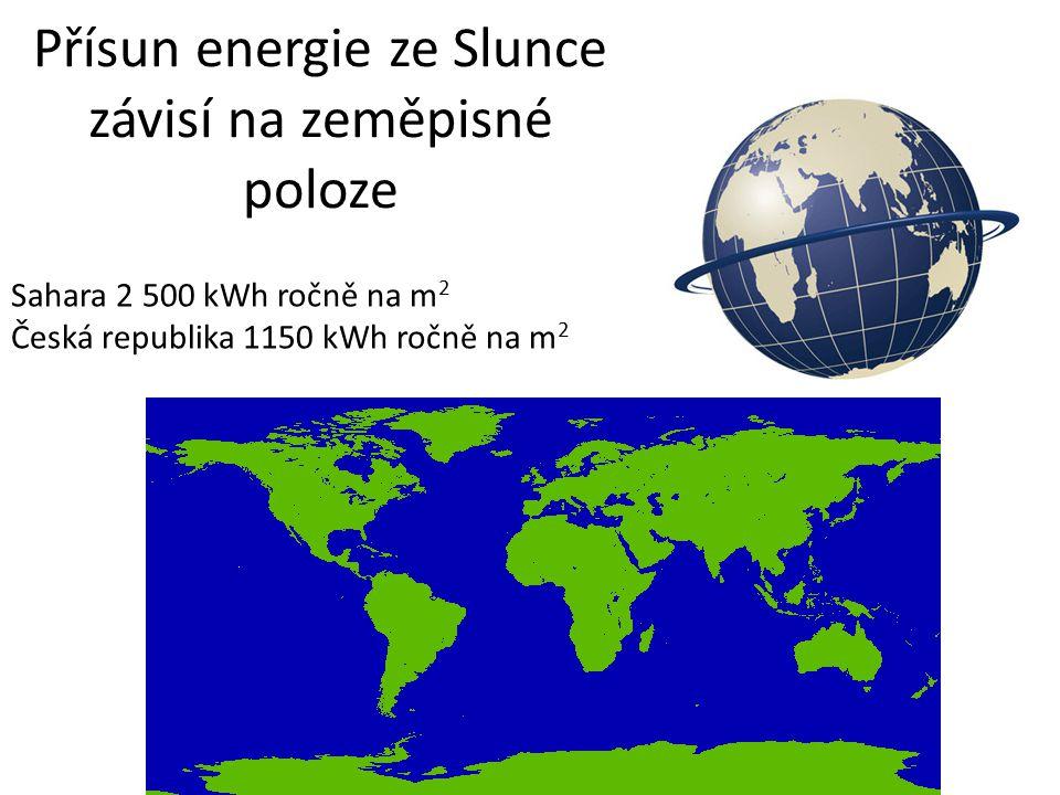 Přísun energie ze Slunce závisí na zeměpisné poloze Sahara 2 500 kWh ročně na m 2 Česká republika 1150 kWh ročně na m 2