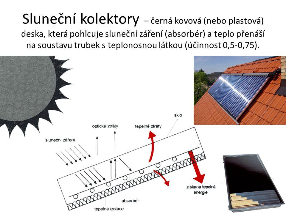 Sluneční kolektory – černá kovová (nebo plastová) deska, která pohlcuje sluneční záření (absorbér) a teplo přenáší na soustavu trubek s teplonosnou lá