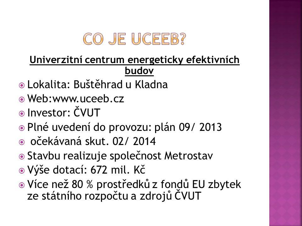 Univerzitní centrum energeticky efektivních budov  Lokalita: Buštěhrad u Kladna  Web:www.uceeb.cz  Investor: ČVUT  Plné uvedení do provozu: plán 09/ 2013  očekávaná skut.