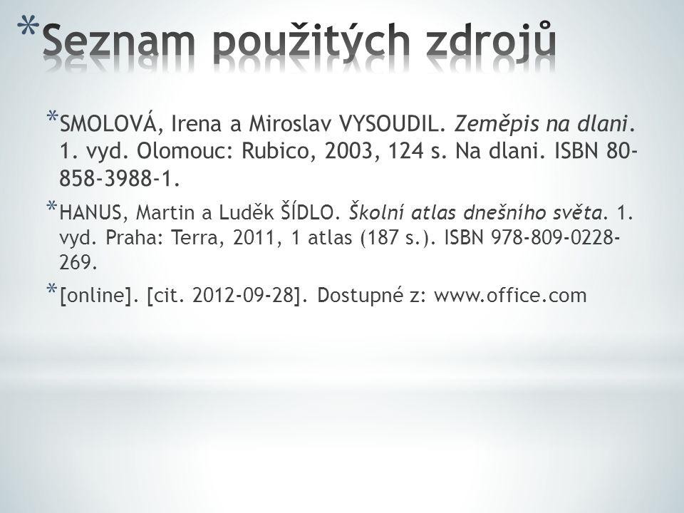 * SMOLOVÁ, Irena a Miroslav VYSOUDIL. Zeměpis na dlani.