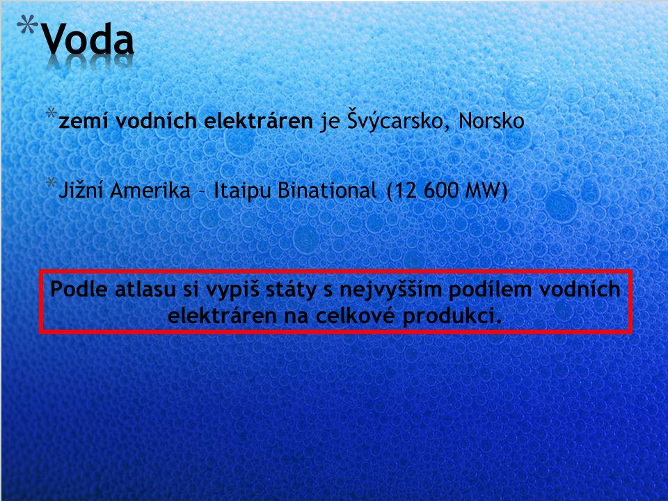 * zemí vodních elektráren je Švýcarsko, Norsko * Jižní Amerika – Itaipu Binational (12 600 MW) Podle atlasu si vypiš státy s nejvyšším podílem vodních elektráren na celkové produkci.