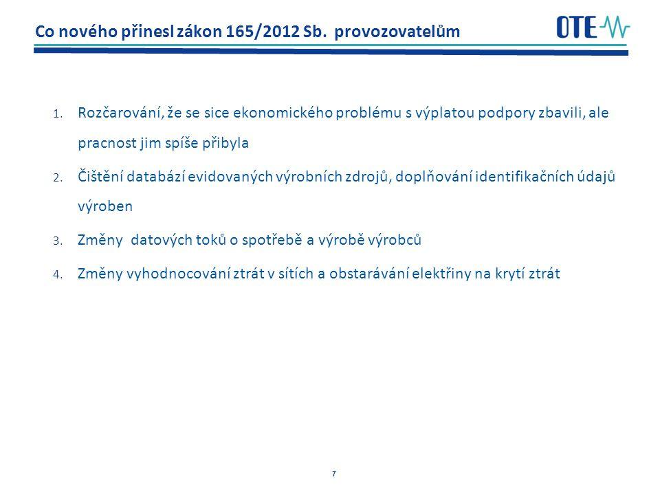 7 Co nového přinesl zákon 165/2012 Sb.provozovatelům 1.