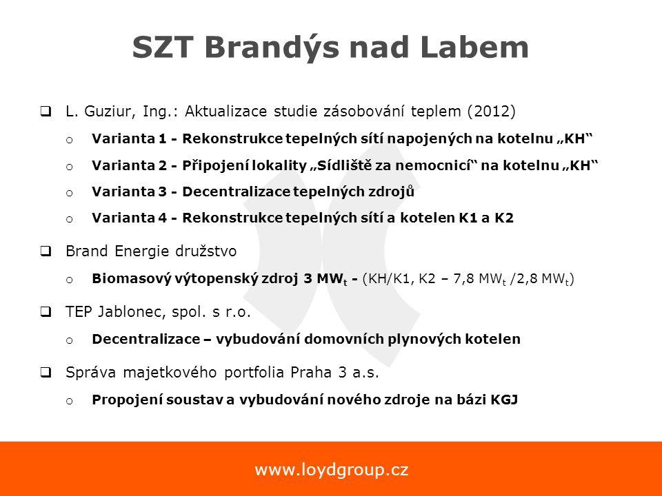 www.loydgroup.cz SZT Brandýs nad Labem  L. Guziur, Ing.: Aktualizace studie zásobování teplem (2012) o Varianta 1 - Rekonstrukce tepelných sítí napoj
