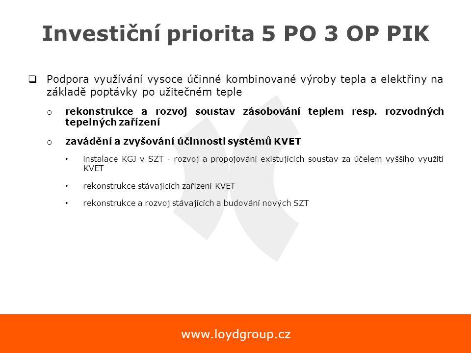 www.loydgroup.cz Investiční priorita 5 PO 3 OP PIK  Podpora využívání vysoce účinné kombinované výroby tepla a elektřiny na základě poptávky po užite