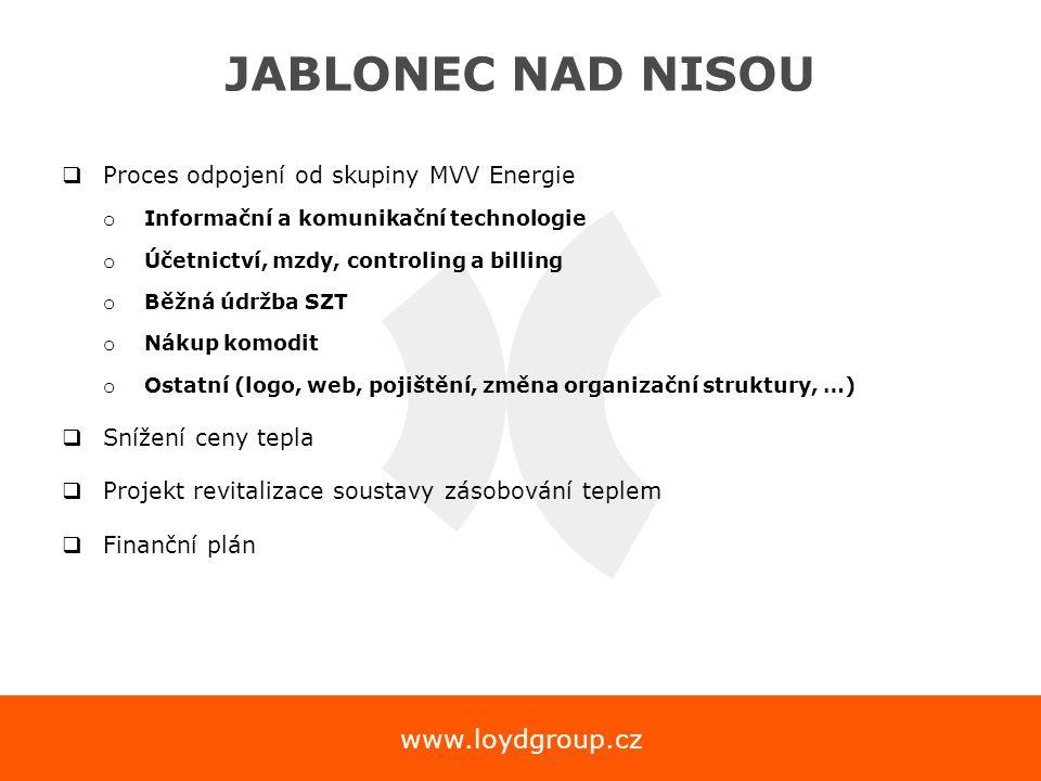 www.loydgroup.cz JABLONEC NAD NISOU  Proces odpojení od skupiny MVV Energie o Informační a komunikační technologie o Účetnictví, mzdy, controling a b
