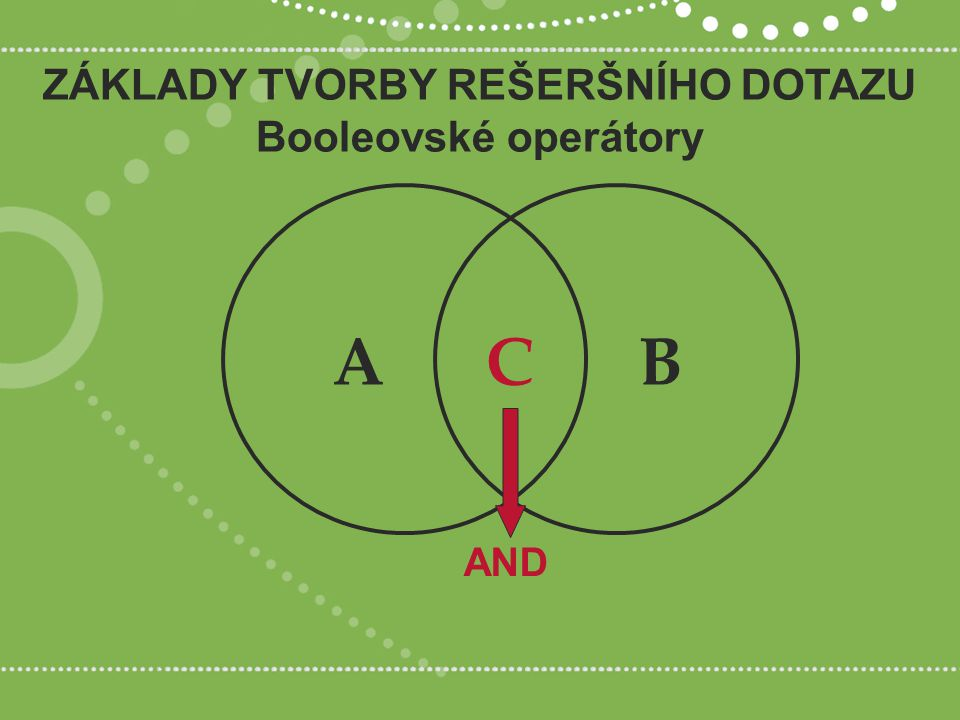 ZÁKLADY TVORBY REŠERŠNÍHO DOTAZU Booleovské operátory AND ABC