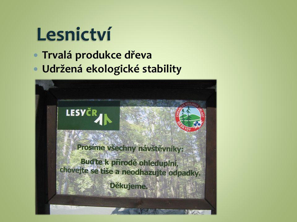 Trvalá produkce dřeva Udržená ekologické stability
