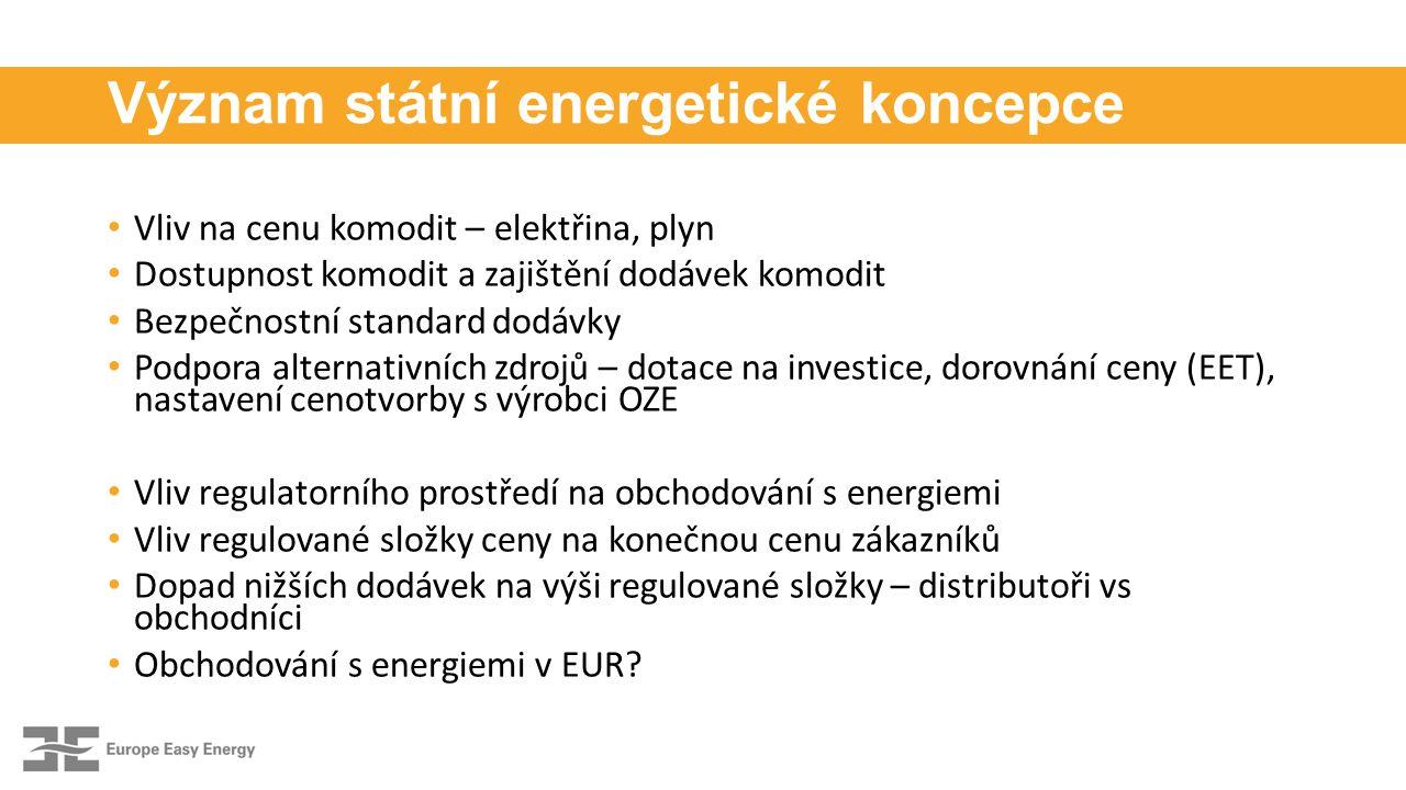 Význam státní energetické koncepce Vliv na cenu komodit – elektřina, plyn Dostupnost komodit a zajištění dodávek komodit Bezpečnostní standard dodávky Podpora alternativních zdrojů – dotace na investice, dorovnání ceny (EET), nastavení cenotvorby s výrobci OZE Vliv regulatorního prostředí na obchodování s energiemi Vliv regulované složky ceny na konečnou cenu zákazníků Dopad nižších dodávek na výši regulované složky – distributoři vs obchodníci Obchodování s energiemi v EUR