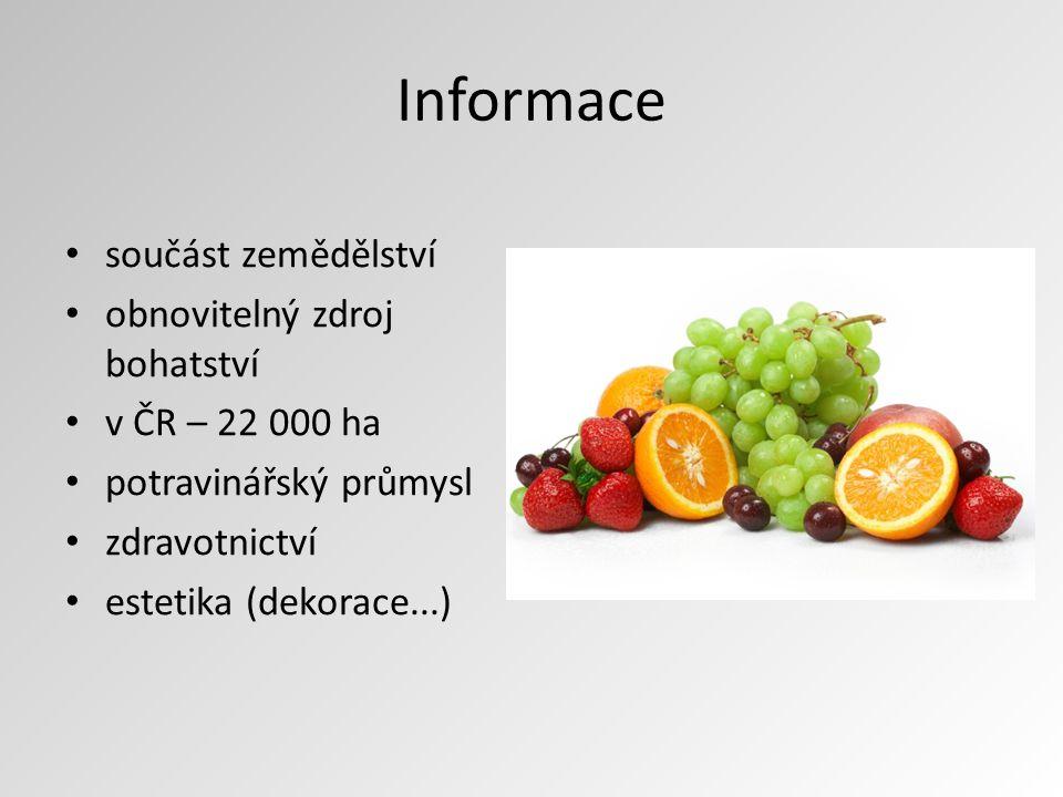 Informace součást zemědělství obnovitelný zdroj bohatství v ČR – 22 000 ha potravinářský průmysl zdravotnictví estetika (dekorace...)
