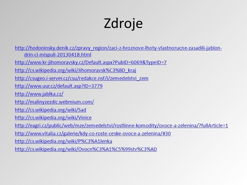 Zdroje http://hodoninsky.denik.cz/zpravy_region/zaci-z-hroznove-lhoty-vlastnorucne-zasadili-jablon- drin-ci-mispuli-20130418.html http://www.kr-jihomo