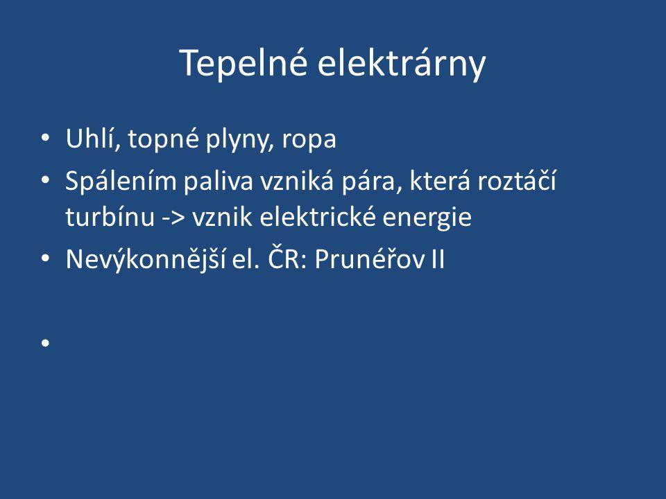 Jaderné elektrárny Přeměna vazebné energie jader těžkých prvků na elektrickou energii Pára z reaktoru pohaní alternátory -> výroba elektrické energie OECD - zásoba uranu – 270 let Na světě - 436 reaktorů Největší výroba – Litva, Francie, Něměcko ČR – Dukovany, Temelín