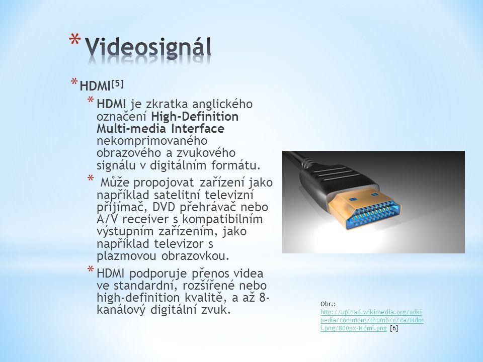 * HDMI [5] * HDMI je zkratka anglického označení High-Definition Multi-media Interface nekomprimovaného obrazového a zvukového signálu v digitálním fo