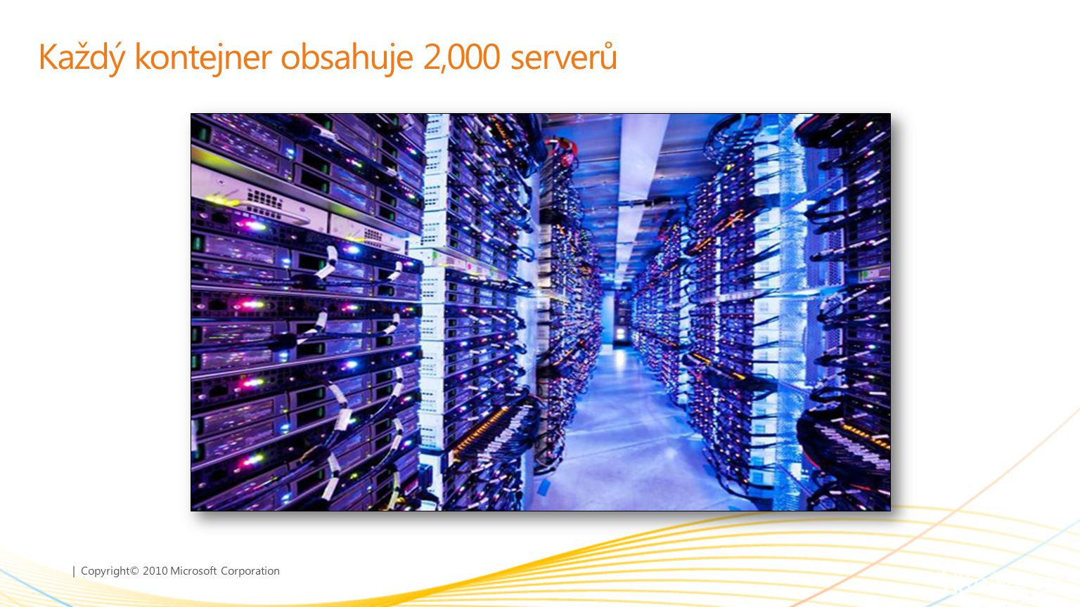 | Copyright© 2010 Microsoft Corporation Každý kontejner obsahuje 2,000 serverů