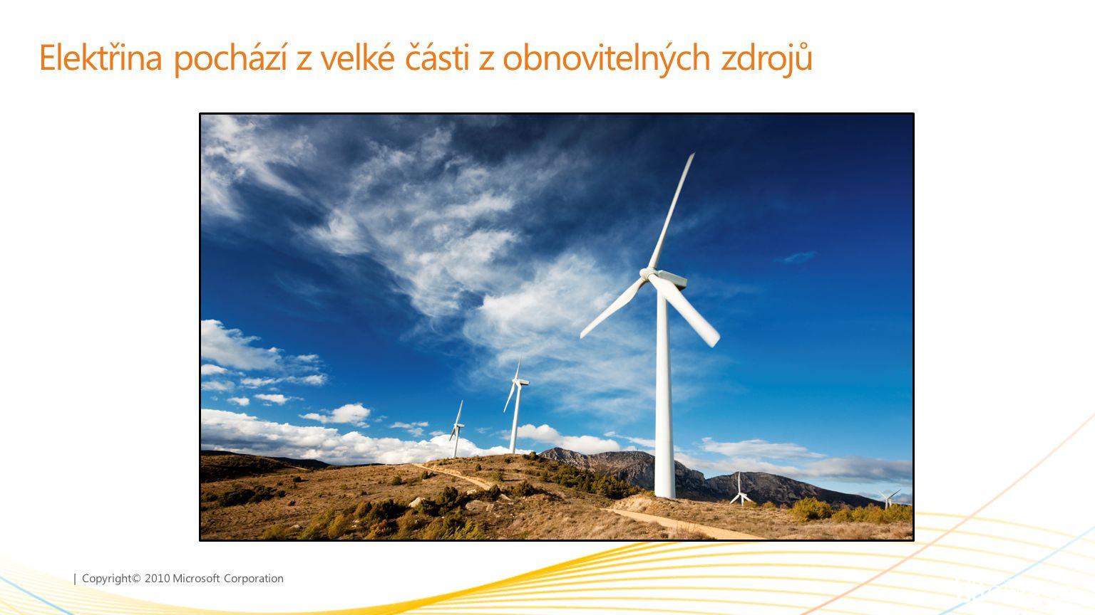 | Copyright© 2010 Microsoft Corporation Elektřina pochází z velké části z obnovitelných zdrojů